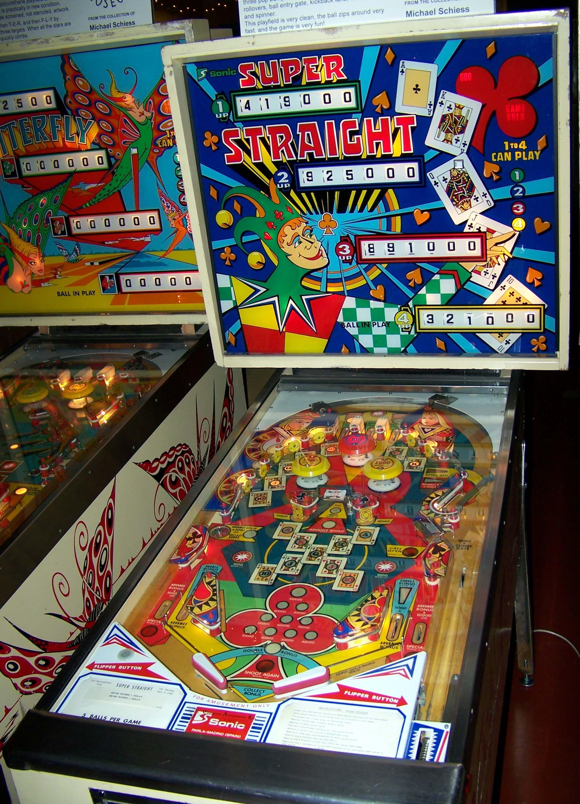 1977 super straight sonic pinball machine pinball